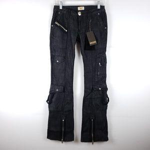 Antik Black Denim Zipper Pocket Jeans Size 25